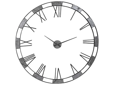 Uttermost Alistair Natural Slate / Gunmetal Wall Clocks