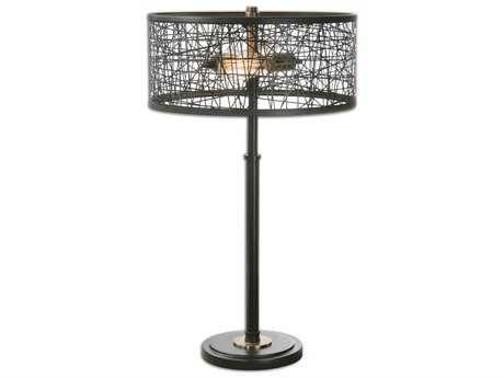Uttermost Alita Black Drum Shade Two-Light Table Lamp UT261311