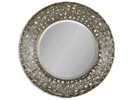 Uttermost Alita 32 Round Champagne Woven Metal Wall Mirror UT11603B