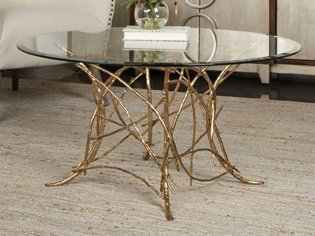 Uttermost Amoret Beveled Glass / Gold Leaf 36'' Wide Round Coffee Table