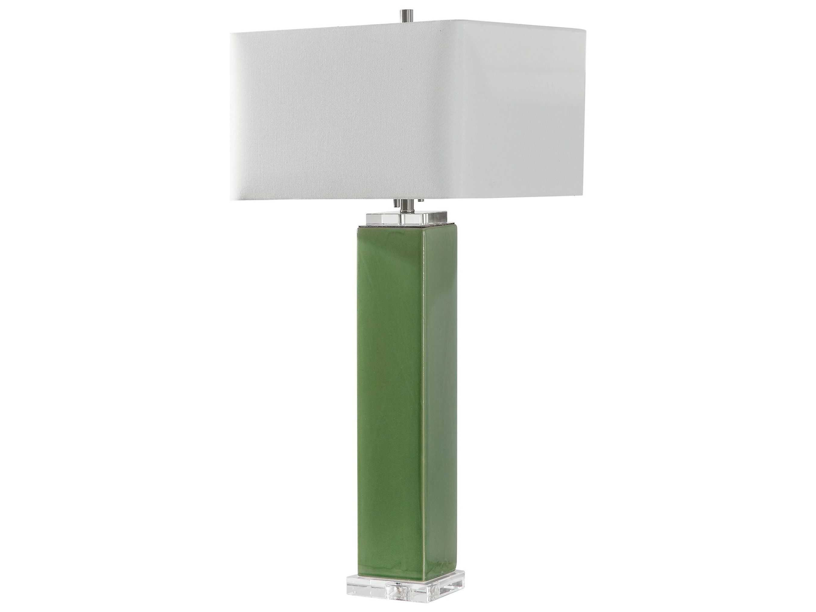 Uttermost Aneeza Tropical Green Glazed Two Light Crystal Buffet Lamp Ut264101