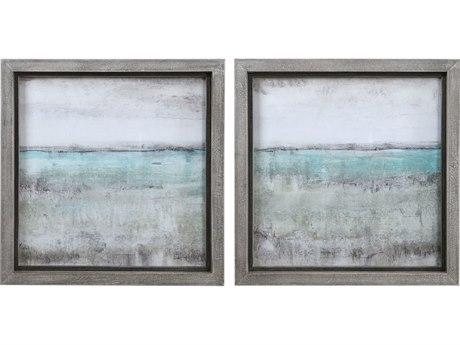 Uttermost Aqua Glass Wall Art (Set of 2)