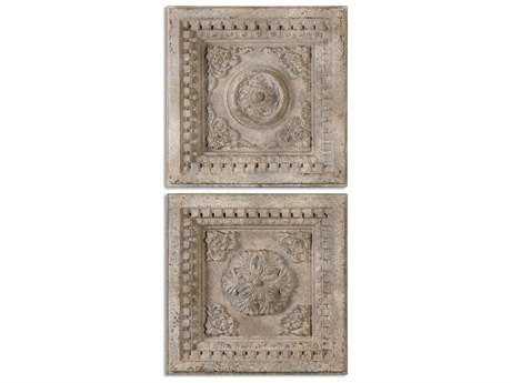 Uttermost Auronzo Aged Ivory Squares (2 Piece Set) UT13910