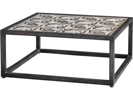Uttermost Baruti Aged White & Iron 42'' Square Coffee Table