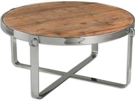 Uttermost Berdine 38 Round Stainless Steel Wooden Coffee Table UT24485