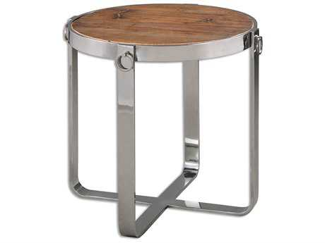 Uttermost Berdine 24 Round Stainless Steel Wooden End Table UT24486