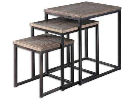 Uttermost Bomani 23.62 x 17.72 Rectangular Wood Nesting Tables (Set of 3) UT24460