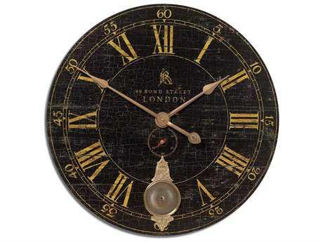 Uttermost Bond Street 30 inch Black Wall Clock UT06030