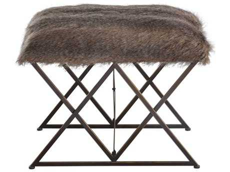 Uttermost Brannen Brown Tones & Worn Black with Gold Accents Plush Small Stool UT23277