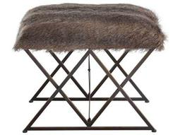 Brannen Brown Tones & Worn Black with Gold Accents Plush Small Stool