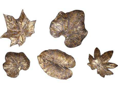 Uttermost Gold Leaf & Mottled Bronze Leaves Wall Art (Set of Five)