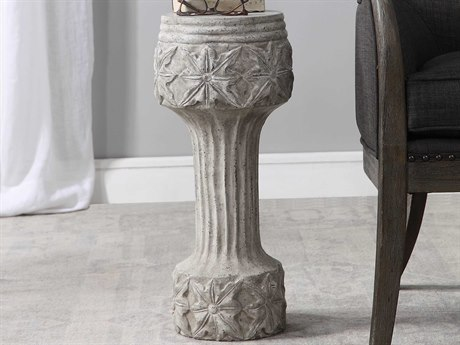 Uttermost Capistrano Distressed Gray Stone Wash / Light Gray / Charcoal 10'' Wide Round Pedestal Table