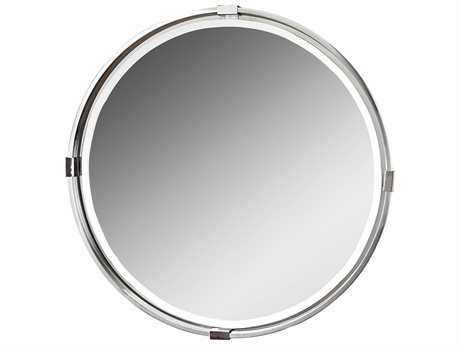 Uttermost Carolyn Kinder Tazlina Brushed Nickel Round Mirror UT09109