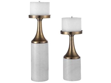 Uttermost Castiel Antique Brushed Brass Candle Holder (Set of 2)