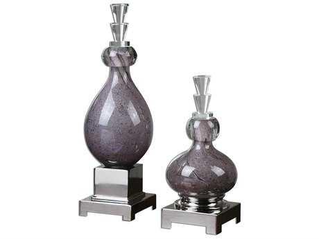 Uttermost Charoite Purple Glass Bottles (2 Piece Set)