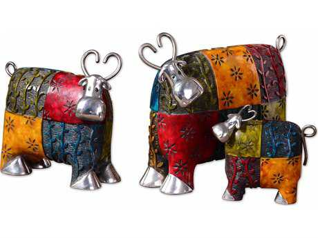 Uttermost Colorful Cows Metal Figurines (3 Piece Set) UT19058