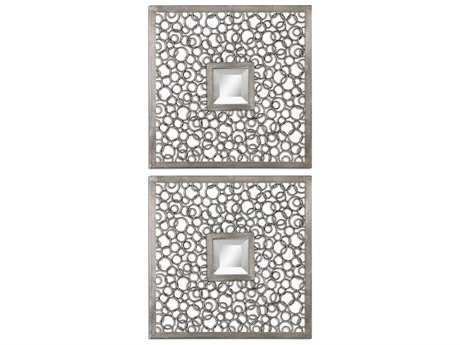 Uttermost Colusa Squares 20 x 20 Silver 2 Piece Wall Mirrors