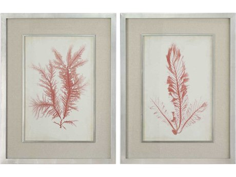 Uttermost Coral Sea Feathers Glass Wall Art