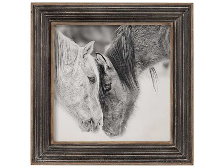 Uttermost Custom Black And White Horses Glass Wall Art