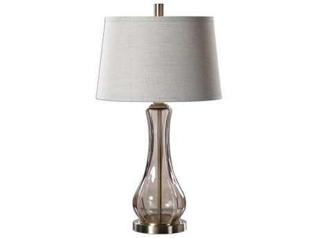 Uttermost Cynthiana Brushed Brass & Smoke Gray Glass Table Lamp UT27085