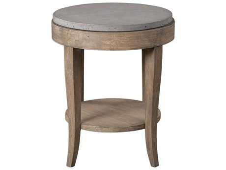 Uttermost Deka Brown Glazed Birch & Concrete 24' Round Accent Table