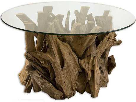Uttermost Driftwood 36 Round Glass Top Cocktail Table UT25519