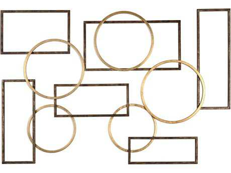 Uttermost Elias Brushed Bronze & Gold Leaf Wall Art UT04062