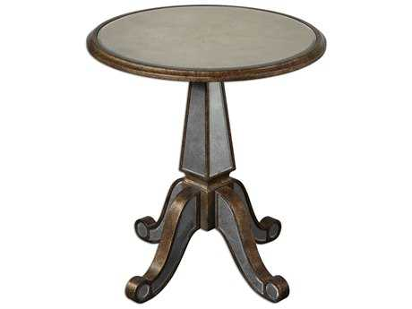 Uttermost Eraman 24 Mirrored Pedestal Table UT24236