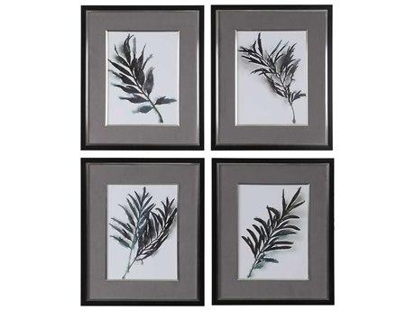 Uttermost Eucalyptus Leaves Glass Wall Art
