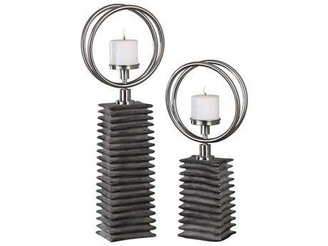 Uttermost Eugenio Black Ceramic Candleholders (Two Piece Set) UT18766