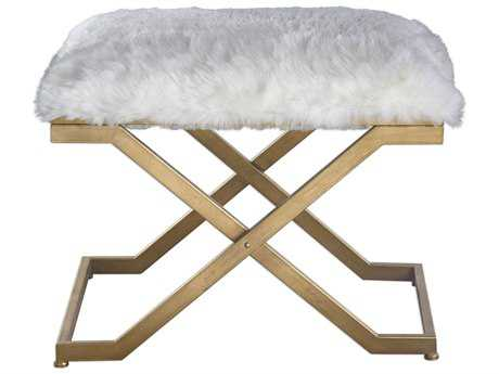 Uttermost Farran Gold Leaf Fur Small Bench UT23278