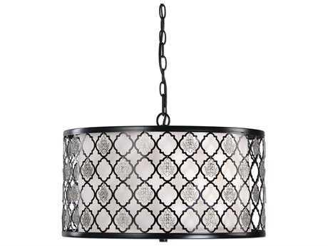 Uttermost Filigree Black & Silver Three-Light Drum Pendant UT22062