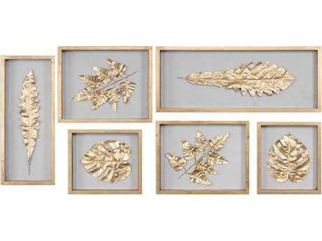 Uttermost Golden Leaves Shadow Box (Set of Six) UT04074