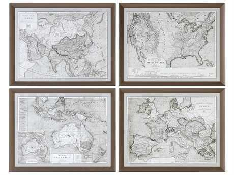 Uttermost Grace Feyock World Maps Framed Prints (Set of Four) UT33639