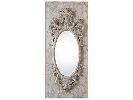 Uttermost Guardia 21 x 48 Gray-Ivory Oval Wall Mirror UT13927