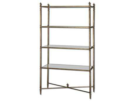 Uttermost Henzler 34 x 14 Rectangular Mirrored Glass Etagere UT24277