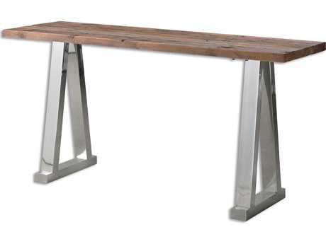 Uttermost Hesperos 63 x 18 Rectangular Stainless Steek Wooden Console Table