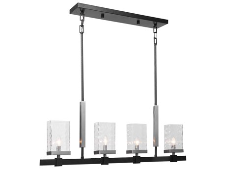 Uttermost Humboldt Textured Black / Brushed Nickel Four-Light 45'' Wide Glass Island Light