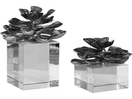 Uttermost Indian Lotus Metallic Silver Flowers (Set of Two) UT20158