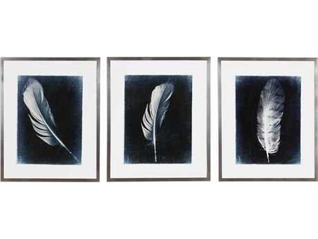 Uttermost Inverted Feathers Glass Wall Art