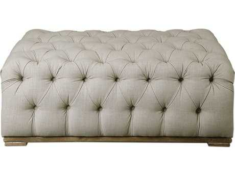 Uttermost Jim Parsons Kaniel Tufted Antique White Ottoman UT23253