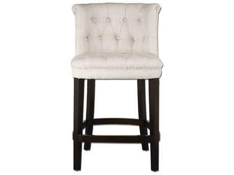 Uttermost Kavanagh Tufted White Linen Counter Stool UT23236