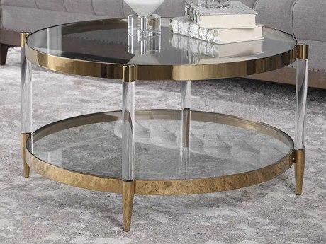 Uttermost Kellen Gold / Clear 32'' Wide Round Coffee Table UT24895
