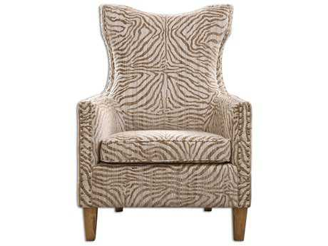 Uttermost Kiango Animal Pattern Brown Arm Accent Chair