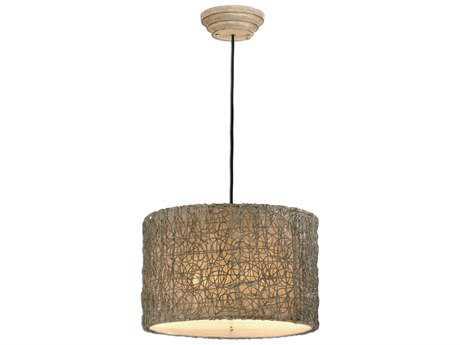 Uttermost Knotted Rattan-Light Drum Three-Light Pendant
