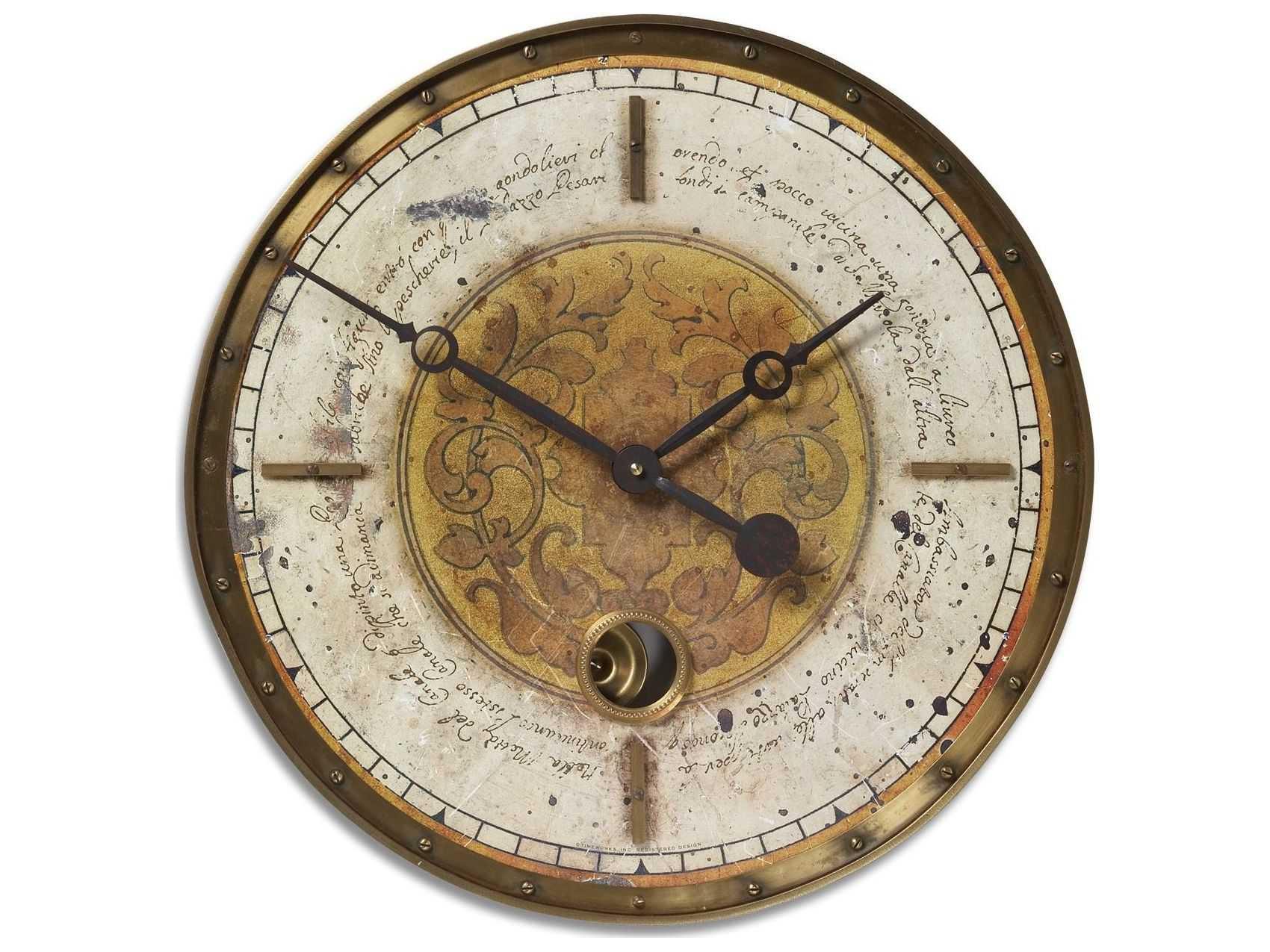 Uttermost Leonardo Script 18 Inch Cream Wall Clock Ut06006