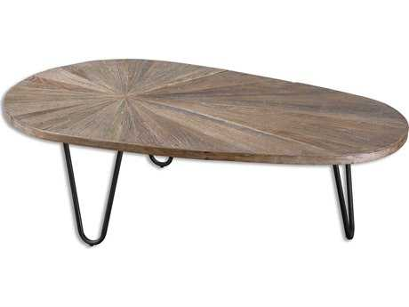 Uttermost Leveni 51 x 27 Oval Wooden Gray Coffee Table UT24459