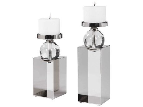 Uttermost Lucian Polished Nickel Candle Holder (Set of 2)
