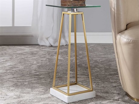 Uttermost Mackean Metallic Gold Leaf 10'' Wide Square Pedestal Table UT24907