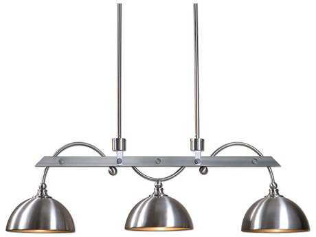 Uttermost Malcolm Satin Nickel Three-Light Industrial Island Light UT21265